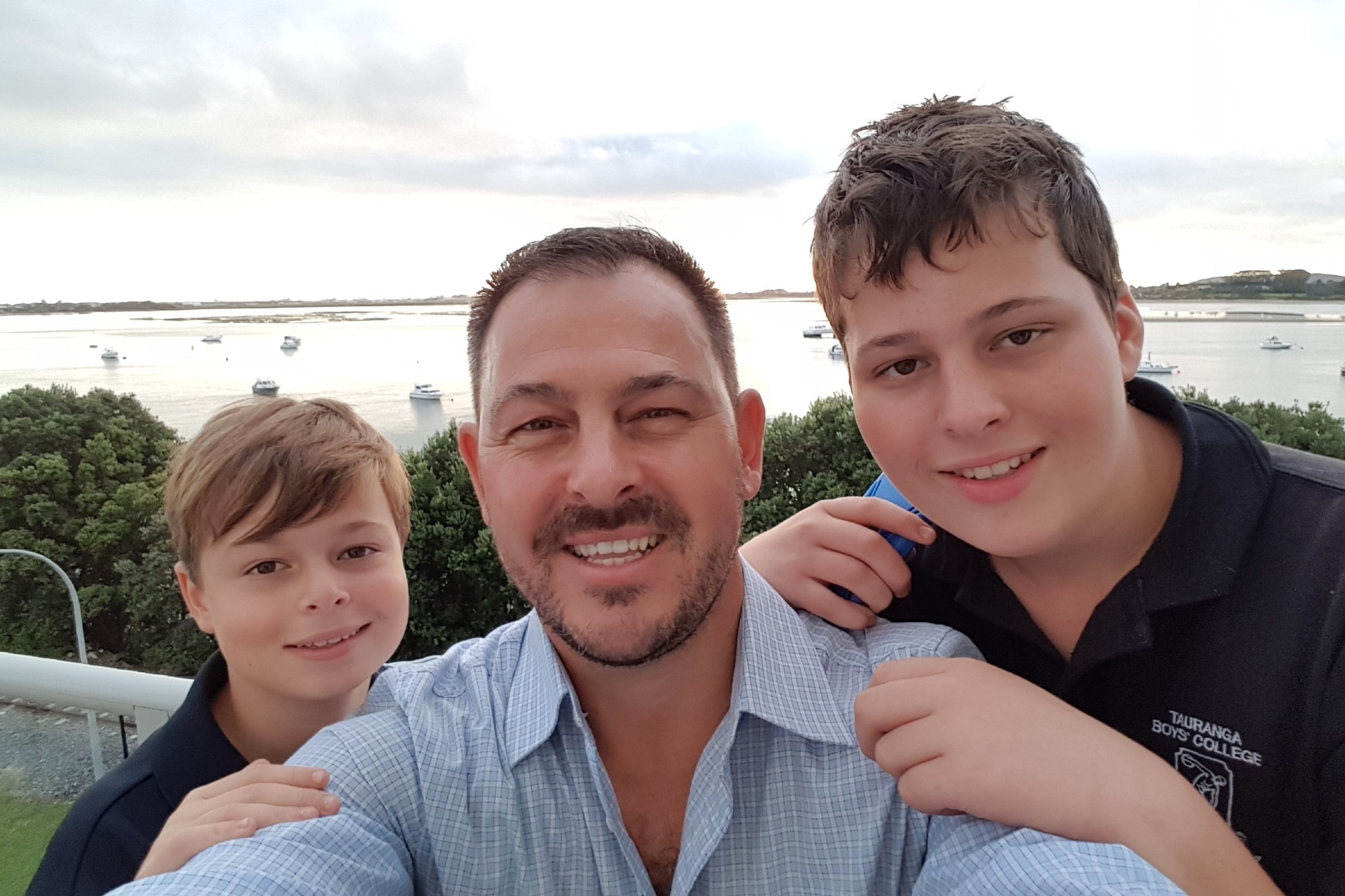Dean Peddle and his children, Liam and Noah