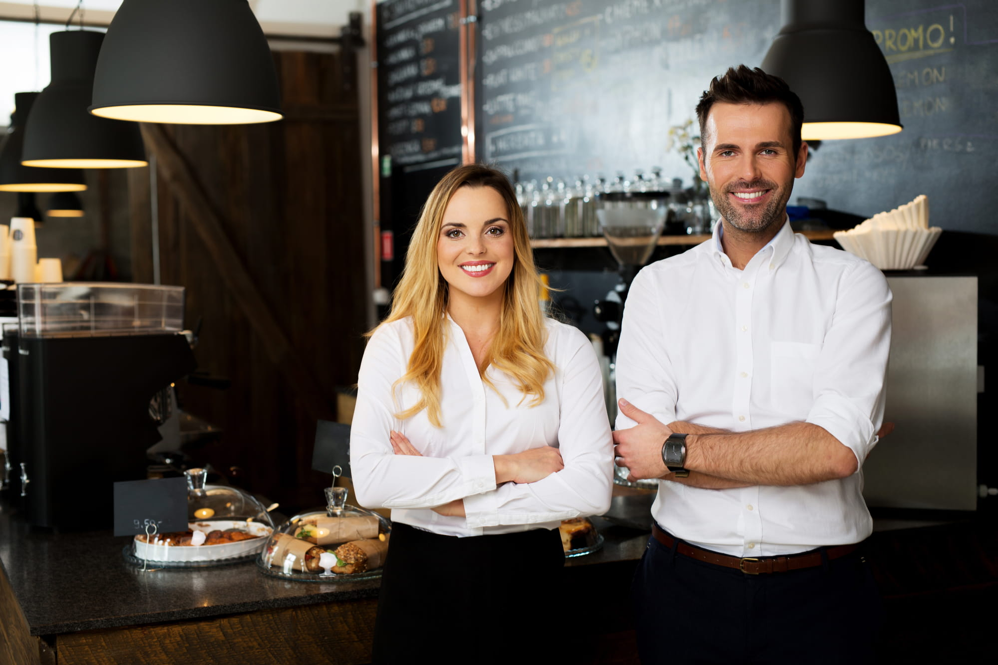 Business owners in a cafe